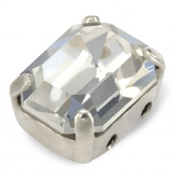 MM10x8 OCTAGON CRYSTAL silver-3pcs