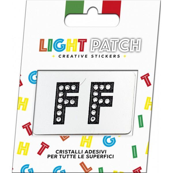 Light Patch Lettere FF Sticker Cristalli Nero Cry