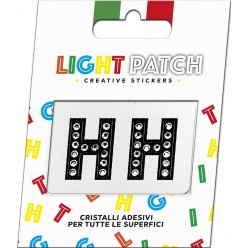 Light Patch Lettere HH Sticker Cristalli Nero Cry