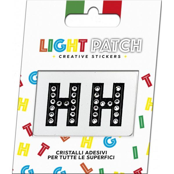 Light Patch Lettere HH Sticker Cristalli Nero Cry