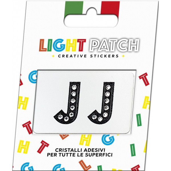 Light Patch Lettere JJ Sticker Cristalli Nero Cry