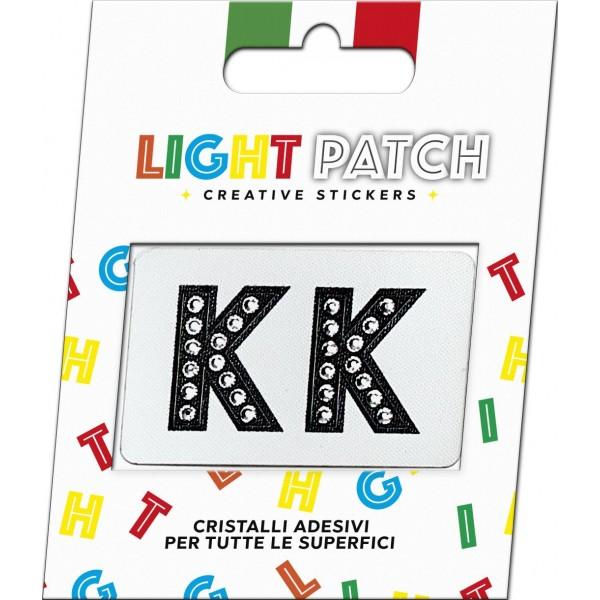 Light Patch Lettere KK Sticker Cristalli Nero Cry