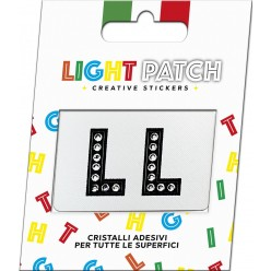 Light Patch Lettere LL Sticker Cristalli Nero Cry