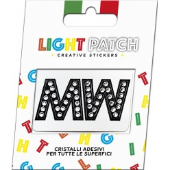 Light Patch Lettere MM Sticker Cristalli Nero Cry