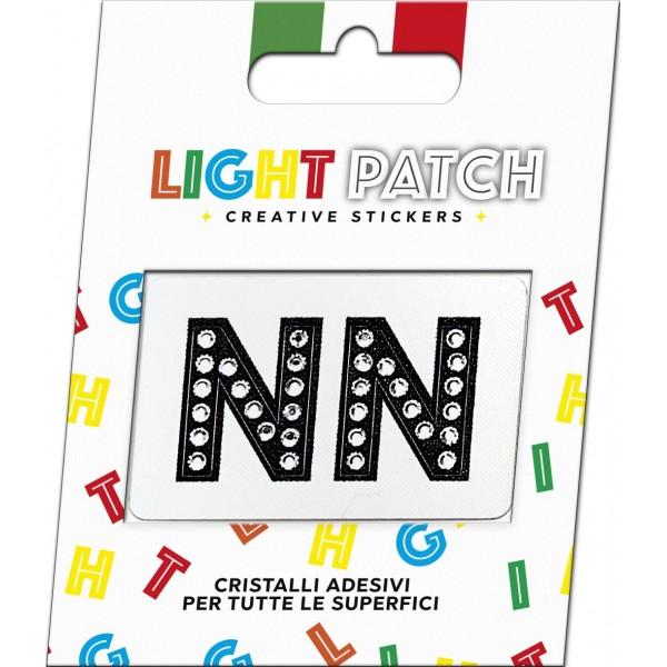 Light Patch Lettere NN Sticker Cristalli Nero Cry