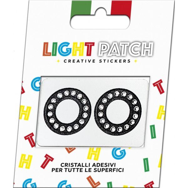 Light Patch Lettere OO Sticker Cristalli Nero Cry