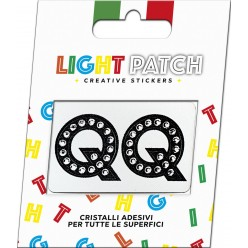 Light Patch Lettere QQ Sticker Cristalli Nero Cry