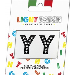 Light Patch Lettere YY Sticker Cristalli Nero Cry