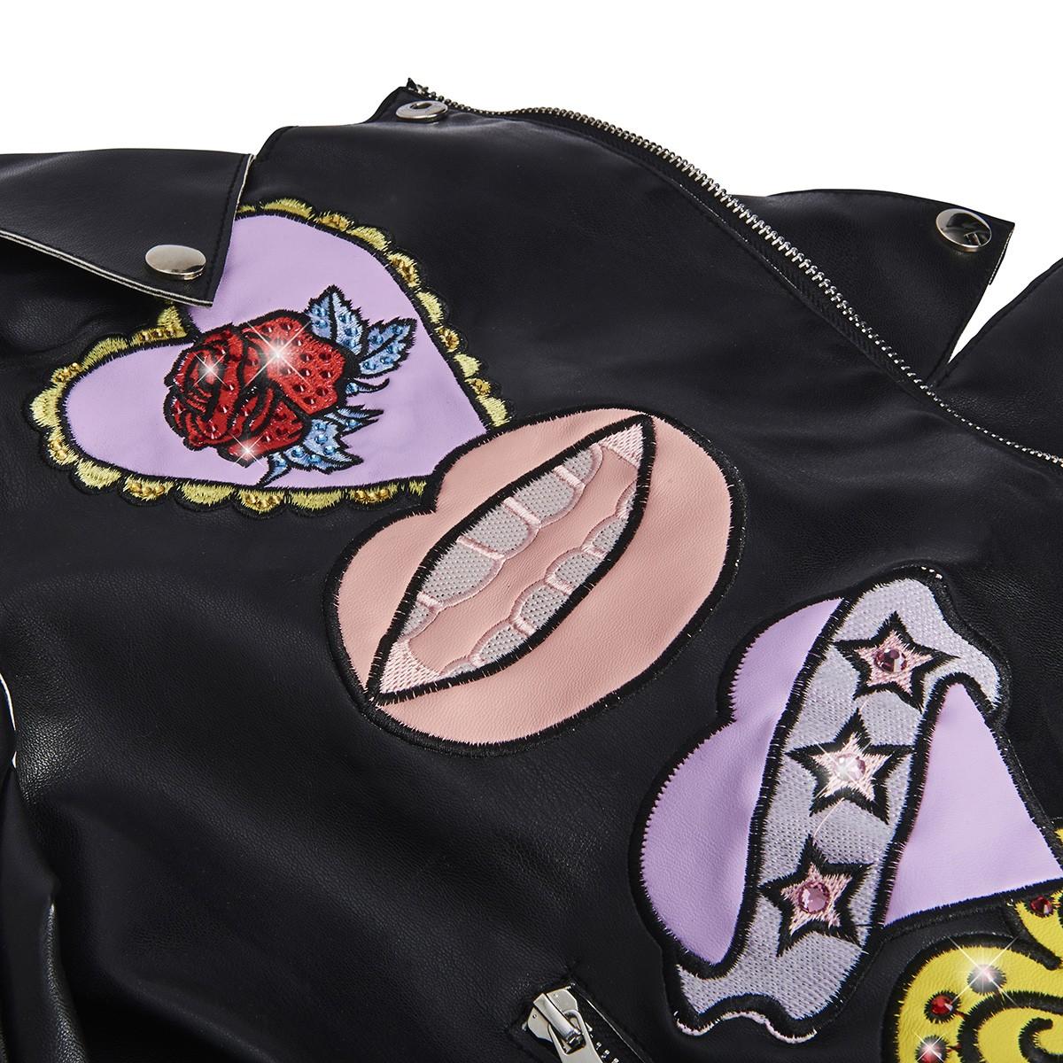 sale retailer f7c8b f2536 Giacca donna chiodo eco-pelle con patch e cristalli