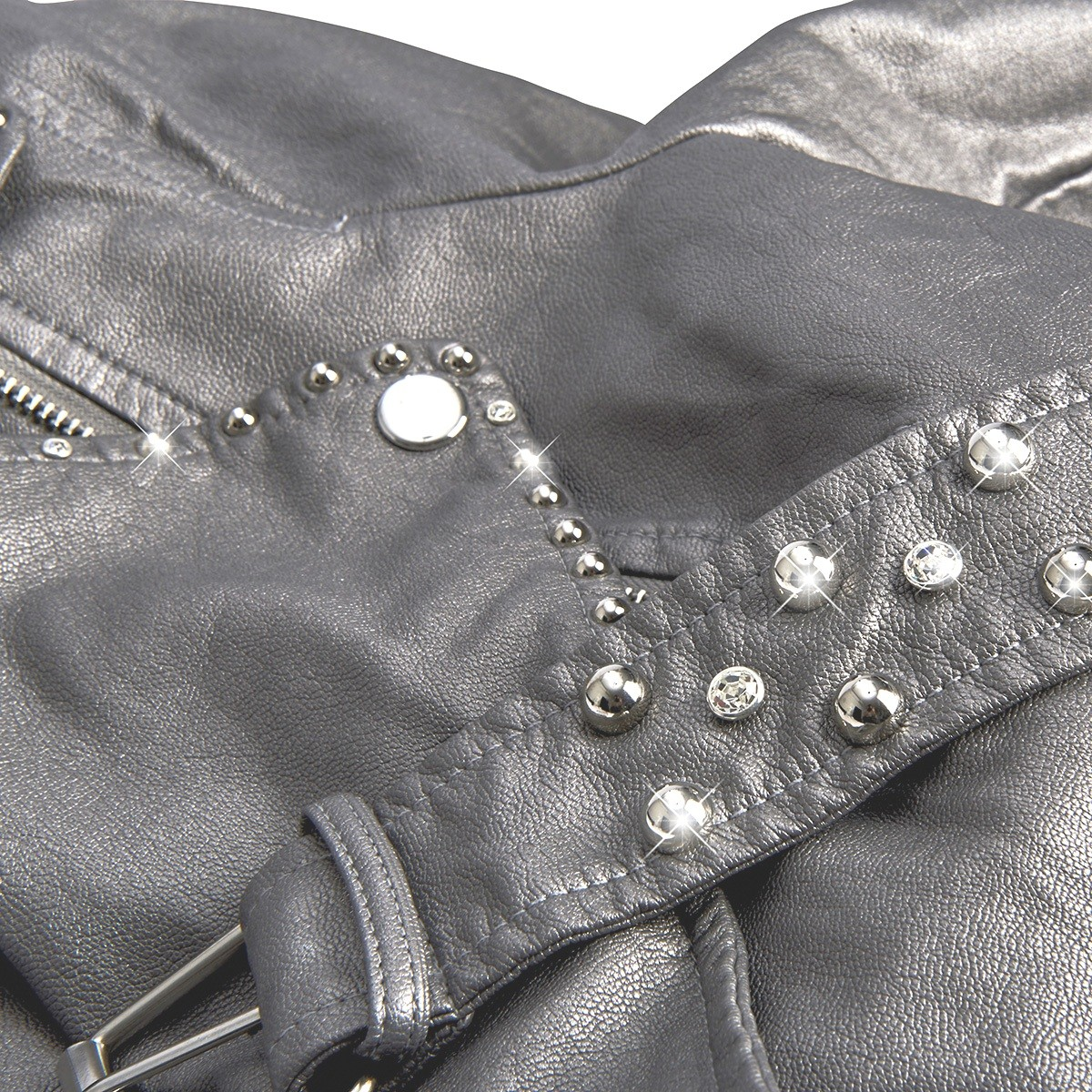 601cae0eeb4d ... Women s eco-leather jacket with patches and crystals