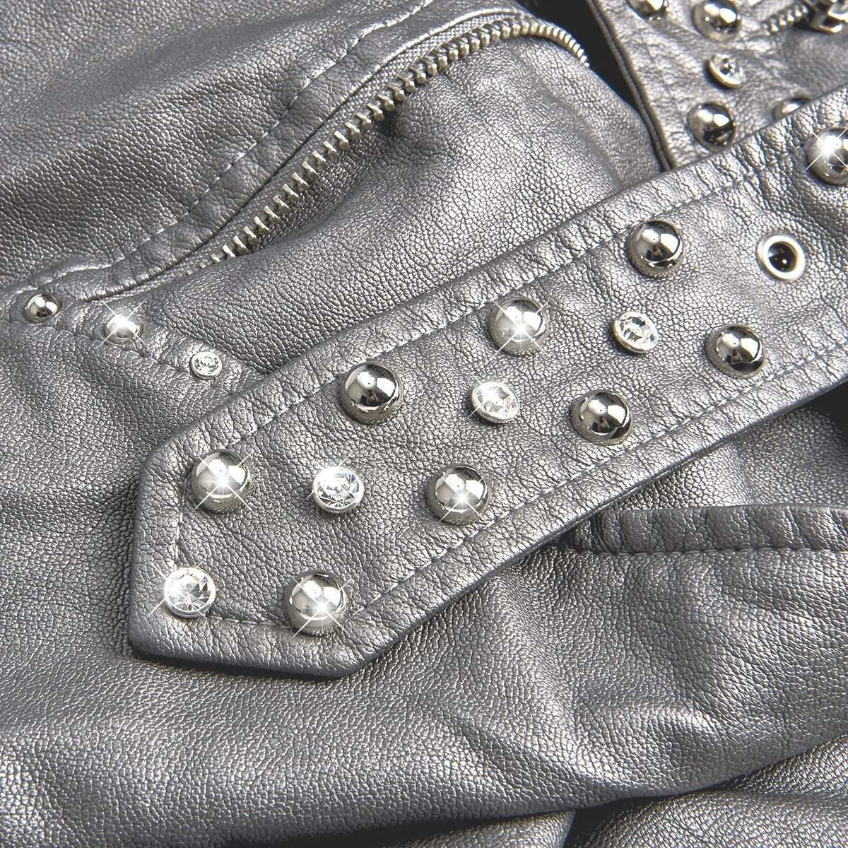 8639c07da2f1 ... Women s eco-leather jacket with patches and crystals ...