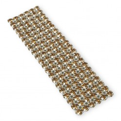 CATENA SU RETE STRASS VIVA 12 SS20(5MM) LIGHT COL. TOPAZ-ARGENTO-6 FILE-10CM