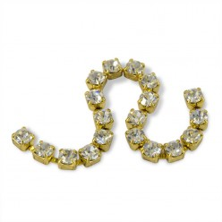METAL CHAIN SS12 (3,5 mm) CRYSTAL-ORO-1MT